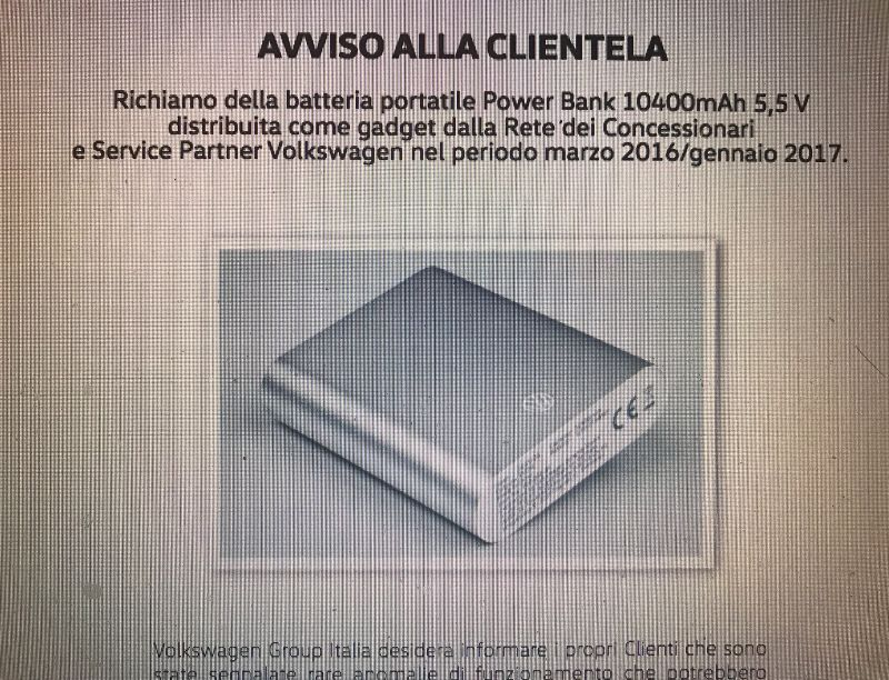 Volkswagen richiama la batteria Power Bank 10400 amh